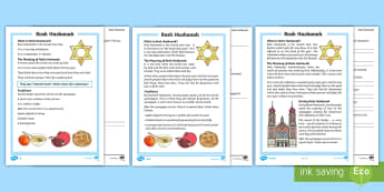 KS1 Rosh Hashanah Differentiated Reading Comprehension Activity - New Year, God, New Start, Reflection, Improvement