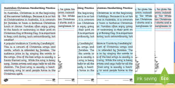 Australian Christmas Handwriting Practice Activity Sheet - Fine motor, letter formation, cursive, Line guides, december,Australia, worksheet