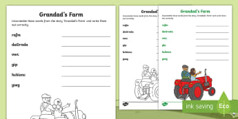 Grandad's Farm Word Scramble Activity Sheet - exploring my world, aistear, grandads, farm, literacy, reading, spelling, word, scramble, worksheet,
