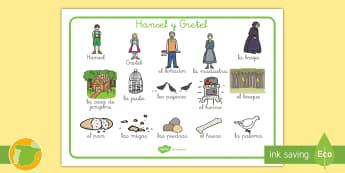 Tapiz de vocabulario: Hansel y Gretel - cuento, cuentos, vocabulario, palabras, hansel, gretel, tradicional, infantil, grimm, moraleja, ,Spa
