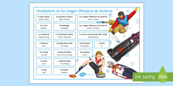 Winter Olympics Word Mat Spanish - sports, free, time, events, culture, keywords, spellings, news