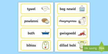 Labeli ac Arwyddion Babi - baby, babi, labeli, labels, arwyddion, signs, role play, chwarae, rol,Welsh