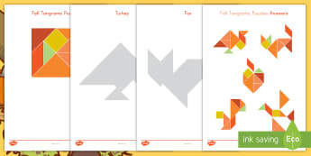Fall Tangrams Puzzle - Fall, Tangrams, Seasons, Turkey, Thanksgiving, Bird, Apple, Squirrel, Autumn