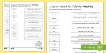 The Calendar - Latin Origins Activity Sheet - worksheet calendar, latin, English origins, origins of language, development of language, history of