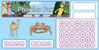 CVVC and CCVC Interactive Display Pack - CVVC, CCVC, phonics, phase 4, blends, clusters, crab, hump, skip, tram, step, drop, plum, frog, drum