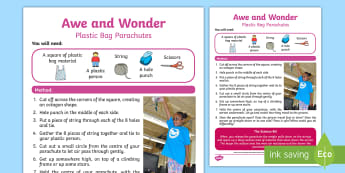 Plastic Bag Parachutes Awe and Wonder Science Activity - plastic