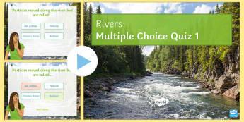 Rivers PowerPoint Quiz - Rivers, Keywords, definitions, revision, GCSE, AQA, KS4