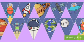 Space-Themed Display Bunting English/Spanish - EAL, translation, Space Themed Bunting, decorations, display, space bunting, space, outer space, in