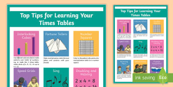 Top Tips for Learning Your Multiplication Tables Display Poster - math, multiplication tables, display, poster, homework, number skills,