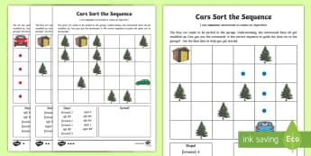 Cars Sort the Sequence Activity Sheet - worksheet, computing, program, algorithm, sequence, commands, plan, predict, coding, reorder, cars