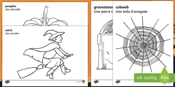 Halloween Colouring Pages English/French  - Halloween colouring in, colour, colouring, activity, pumpkin , witch, bat, scary,spider