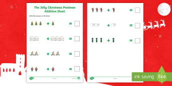 Up to 5 Addition Sheets to Support Teaching on The Jolly Christmas Postman  Activity Sheets - The Jolly Christmas Postman Up to 5 Addition Sheets - the jolly christmas postman, addition sheets,
