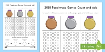 Paralympics Medal Count and Add Activity Sheet - Winter Olympics, Olympics, Paralympics, Winter Paralympics, Medal Count