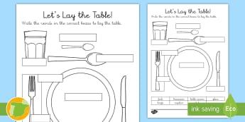 A1 Ficha de actividad: ¡A poner la mesa! Inglés - lengua extranjera, english, inglés, food, table, plate, ,Spanish-translation