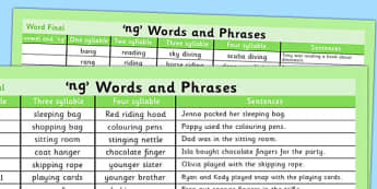 Ng Word List - ng, word list, word, list, syllables, sentences