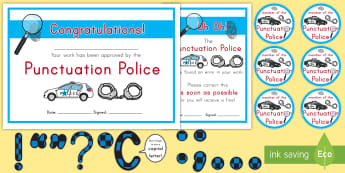 Punctuation Police Resource Pack -  Period, Exclamation Point, Question Mark, Law Enforcement, Grammar police, Sentence Endings