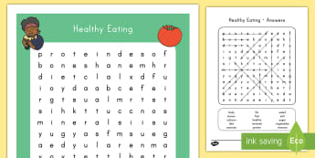 Healthy Eating Word Search - healthy, unhealthy, food, word search, activity