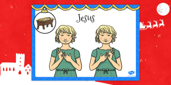 A4 British Sign Language Sign for Jesus Left Handed - jesus, left