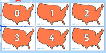 Numbers 0-50 on USA - 0-50, foundation stage numeracy, Number recognition, Number flashcards, counting, number frieze, Display numbers, number posters