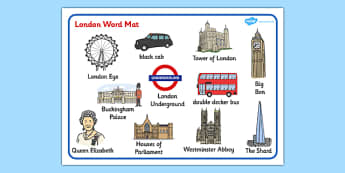 London Word Mat - sights, mats, words, writing, aid, capital
