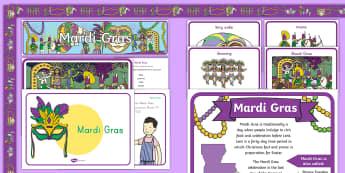 Mardi Gras Display  Resource Pack-Australia - Mardi Gras, Fat Tuesday, Shrove Tuesday, Carnival,Australia