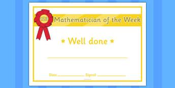 Mathematician of the Week Certificate - certificates, awards, mathematician