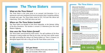 The Three Sisters Fact File-Australia - Sydney Australia,Australia