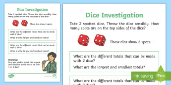 Dice Maths Investigation Activity Sheet - Die, counting, double, roll, addition, Problem Solving, Mastery, worksheet, ks1, investigate