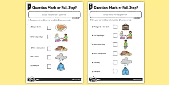 Question Mark or Full Stop? Differentiated Activity Sheet - GPS, punctuation, sentence, SPaG, worksheet