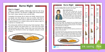 CfE First Level Burns Night  Differentiated Fact File - events, Scottish, poetry, traditions, celebrations