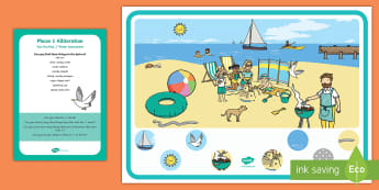Phase 1 Phonics Alliteration 's' Can You Find...? Poster and Prompt Card Pack - EYFS, Aspect 5, letters and sounds, sound, initial, phoneme