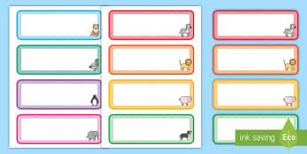 Cute Animals Themed Drawer, Peg, Name Labels - Cute Animals Themed Drawer, Peg, Name Labels - tray label, animals, lebels, aniamls, labele