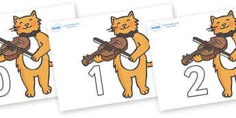 Numbers 0-100 on Cat and Fiddle - 0-100, foundation stage numeracy, Number recognition, Number flashcards, counting, number frieze, Display numbers, number posters