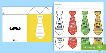 Father's Day Flap Tie Card Craft English/German - fathers, day, flap, tie, card, EAL, German, English-German, present, gift, ,German-translation