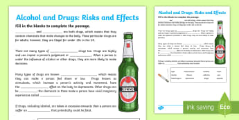 CfE (Second) Alcohol and Drugs Fill in the Blanks Activity Sheet - health, wellbeing, substance misuse, alcohol, drugs, drinking,Scottish, Worksheet