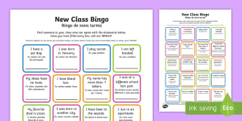New Class Bingo English/Portuguese - New Class Bingo - transition, games, classroom games, preparation, trasition, bump up day, tranistio