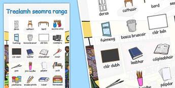 Trealamh seomra ranga Large Display Poster Gaeilge - roi, irish, gaeilge, classroom objects, large, display, poster