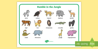 Word Mat (Images) to Support Teaching on Rumble in the Jungle - Story, book, resources, Giles Andreae, David Wojtowycz, word mat, mat, writing aid, teaching resources, book resources, jungle creatures, jungle, book resource