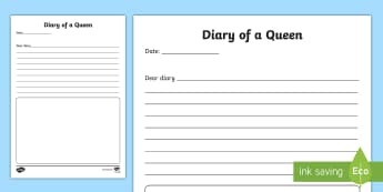 The Diary of a Queen Writing Activity Sheet - Australia English: The Queen's Birthday, journal, diary, Queen, perspective, personal, Australia