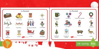 Tapiz de vocabulario: La Navidad - Navidad, palabras de navidad, vocabulario de navidad, santa, español