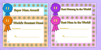 Mother's Day Certificates - Mother's day card, mother's day cards, mother's day activity, mother's day resource, card, card template