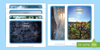 Weather Display Photos Arabic/English - Display Posters, Weather, A4, display, posters, rain, wind, sun, snow, thunder, lightning, waether,