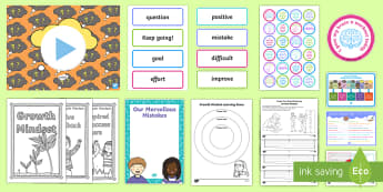 Growth Mindset CfE First Level Resource Pack - learning pit, attitude, changing mindset, fixed, IDL, topic web, first level, scotland, curriculum f