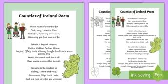 Counties of Ireland Poem - ROI - The World Around UsWAU, Irish