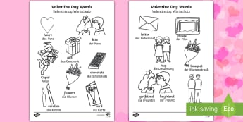 Valentine's Day Words Colouring Pages English/German - EAL, German, Valentines Day Words Colouring Sheets - valetines, colouring , colering, colourng, Vala