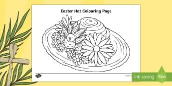 Easter Hat Coloring Page - Easter hat, Easter bonnet, Easter craft, Easter colouring,