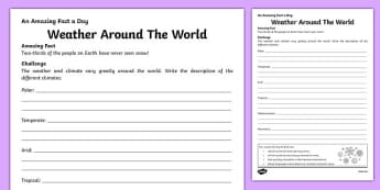 Weather Around The World Worksheet / Activity Sheet, worksheet