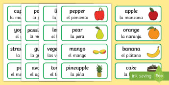 Food Word Cards English/Spanish - food, word cards, cards, snack, eating, healthy, lunch, bread, banana, fruit, vegetable, tomato, pot