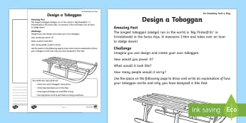 Toboggan, design, sledge, swiss alps, alps - Amazing Fact Of The Day, worksheet / activity sheets, powerpoint, starter, morning activity, February, toboggan,