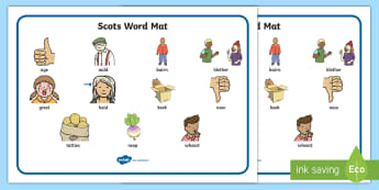 CfE First Level Scots Word Mat - Scottish, language, words, Scot's, Dictionary,Scottish